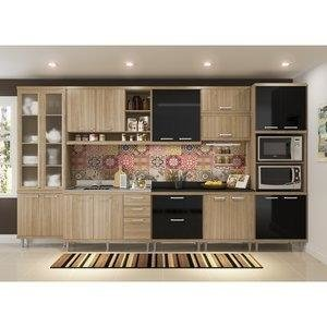 Cozinha Compacta 5139 Sicília Multimóveis (Não Acompanha Tampo) Argila/Preto