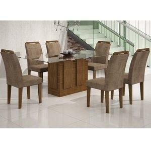 Conjunto Sala de Jantar Mesa Tampo Vidro 180cm Amsterdã 6 Cadeiras Athenas Rufato Ype/Animalle Chocolate