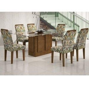 Conjunto Sala de Jantar Mesa Tampo Vidro 180cm Amsterdã 6 Cadeiras Athenas Rufato Ypê/Suede Medalhão