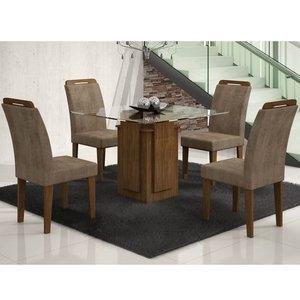 Conjunto Sala de Jantar Mesa Tampo Vidro Amsterdã 4 Cadeiras Athenas Amsterdã/Athenas Rufato Ypê/Animalle Chocolate