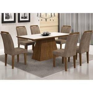 Conjunto Sala de Jantar Mesa Tampo Vidro/MDF Branco Luna 6 Cadeiras Athenas Rufato Ypê/Animalle Chocolate