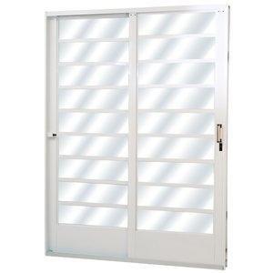 Porta de Correr Aço 2 Folhas com Vidro Liso Minas Sul MGM 215cmx160cm Branco