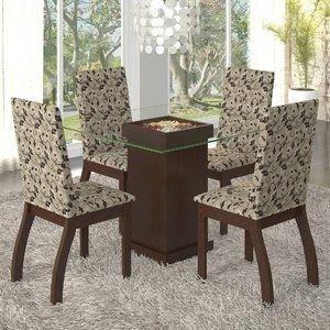 Conjunto para Sala de Jantar Mesa e 4 Cadeiras Lola Viero Choco/Medina