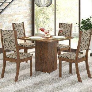 Conjunto Sala de Jantar Mesa e 4 Cadeiras Caju Viero Avelã/Medina