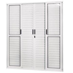 Porta de Correr Alumínio 6 Folhas com Vidro Liso Sólida MGM 210cmx160cm Branco