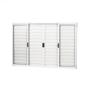 Janela Veneziana Alumínio 6 Folhas MGM Soft 100cmx100cm  Vidro Liso Incolor Branco